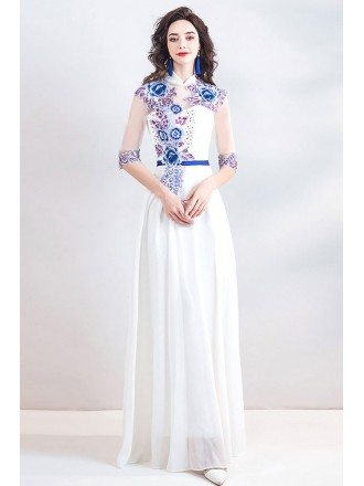 Unique Chinese Qipao Inspired Long White Prom Dress With Sleeves