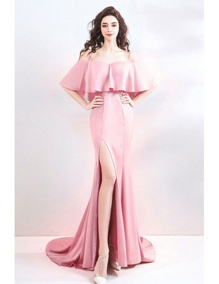 Tight Fitted Pink Mermaid Long Prom Dress With Slit Cape Sleeves