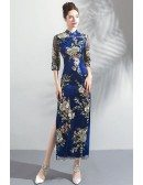 Classic Chinese Blue Cheongsam Tight Fitted Dress With Side Slit
