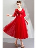 Elegant Red Tulle Tea Length Wedding Party Dress With Sleeves