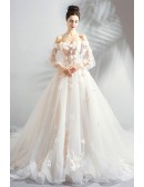 Stunning White Champagne Ball Gown Floral Wedding Dress Fairy Style