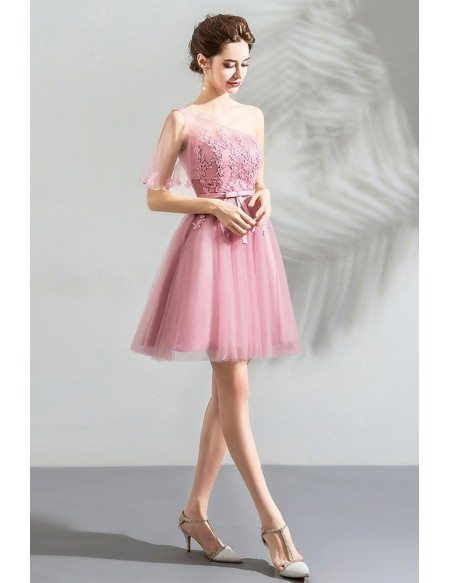 Pink Lace Short One Shoulder Short Party Dress Lace Up