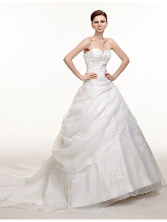 Sweetheart Beaded Lace Organza Corset Wedding Dress with Train