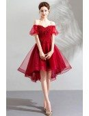 Beautify Poofy Tulle Red Short Prom Dress With Off Shoulder Sleeves