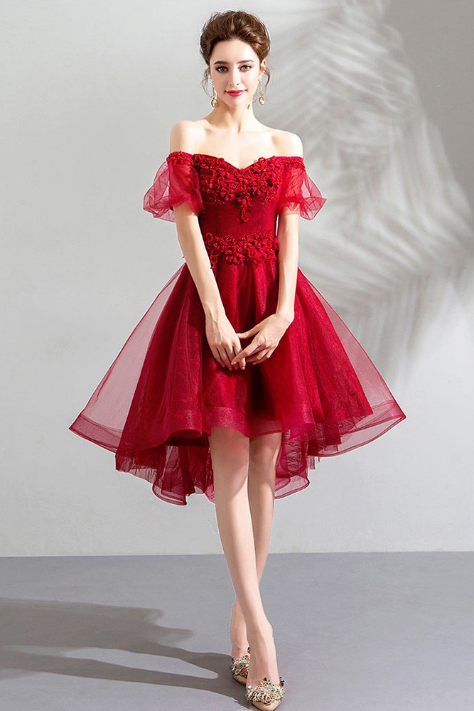 Beautify Poofy Tulle Red Short Prom Dress With Off