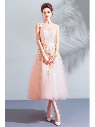 Fairy Pink Butterflies Tulle Party Dress Tea Length With Flowers