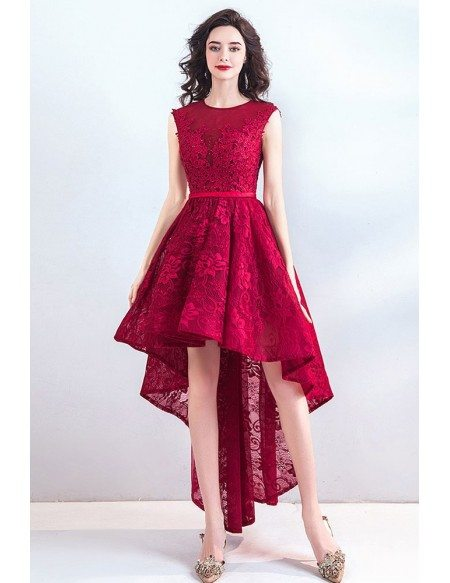 Chic High Low Burgundy Red Lace Party Prom Dress Hi Lo