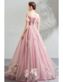 Fairy Princess Pink Ball Gown Formal Prom Dress Off Shoulder With Appliques