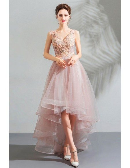Poofy Pink Tulle V-neck Prom Party Dress High Low With Appliques
