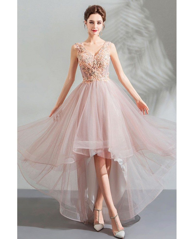 Poofy Pink Tulle V-neck Prom Party Dress High Low With ...
