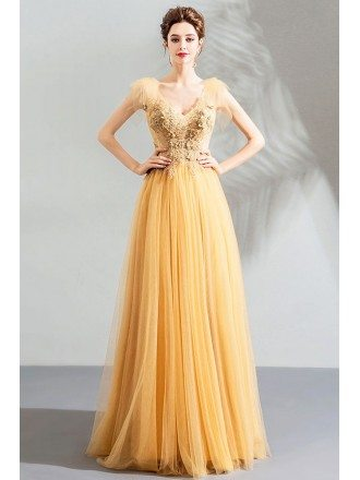 Flowy Long Tulle Elegant Formal Prom Dress V-neck With Appliques