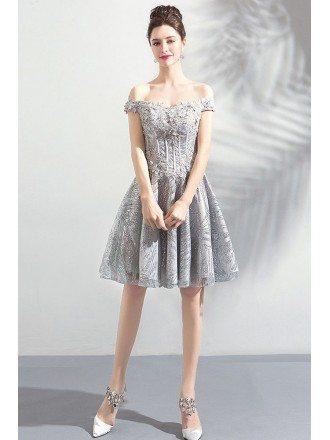 Pretty Grey Unique Lace A Line Short Prom Dress Off Shoulder