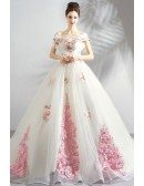 Stunning Fairy Pink Flowers Ball Gown Formal Dress With Long Train