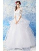 Gorgeous White Organza Ball Gown Wedding Dress Princess With Lace Sleeves