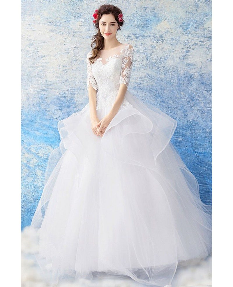 Ball Gown Wedding Dresses With Sleeves: Gorgeous White Organza Ball Gown Wedding Dress Princess