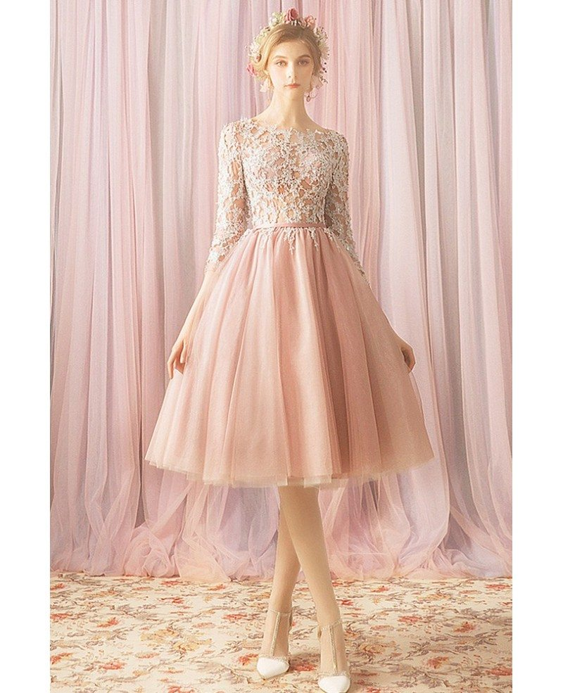 Gorgeous Blush Pink Lace Short Tulle Prom Dress With Lace Sleeves Wholesale T69043 Gemgracecom