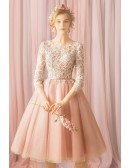 Gorgeous Blush Pink Lace Short Tulle Prom Dress With Lace Sleeves