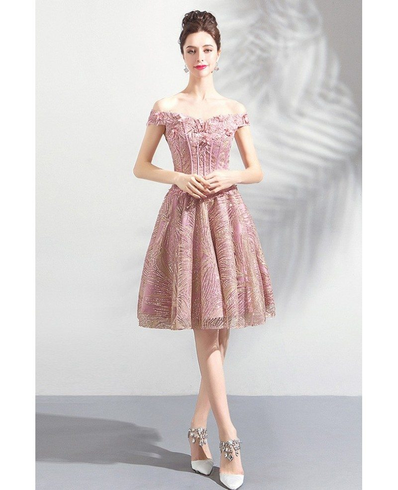 Cute Pink Lace A Line Short Party Prom Dress Off Shoulder Wholesale T69044 Gemgracecom