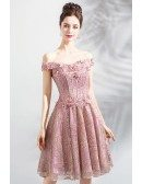 Cute Pink Lace A Line Short Party Prom Dress Off Shoulder