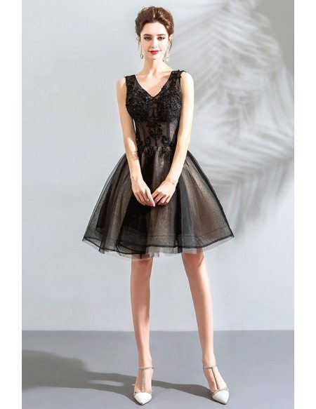 Little Black Tulle Poofy Short Prom Dress V-neck Lace Up