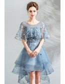 Beautiful Blue Organza High Low Short Prom Dress With Cape Sleeves