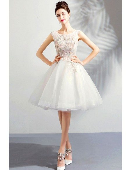 Pure White Poofy Short Tulle Prom Dress With Appliques Sleeveless