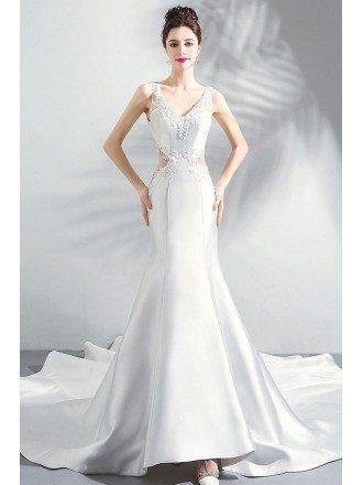 Fancy Pearl White Satin Tight Mermaid Wedding Dress With Long Train