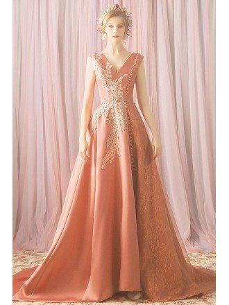 Pink Unique Beaded Silky Satin Long Formal Prom Dress V-neck