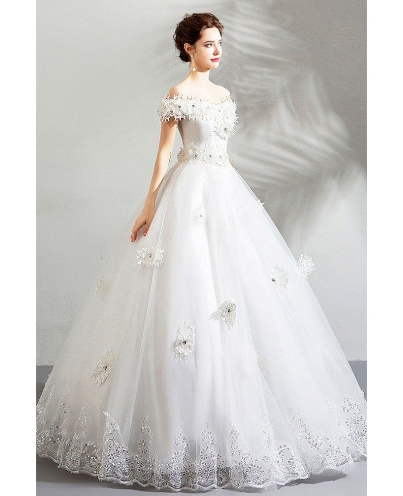 Formal White Lace Trim Cheap Wedding Dress Ball Gown With