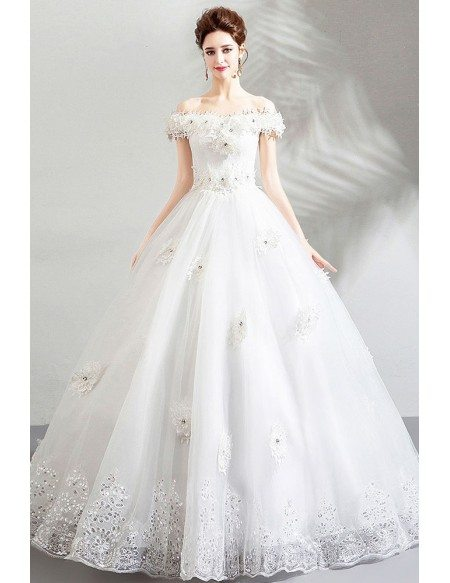 Formal White Lace Trim Cheap Wedding Dress Ball Gown With Off Shoulder