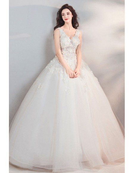 Fairy Pure White Floral Ball Gown Cheap Wedding Dress Princess