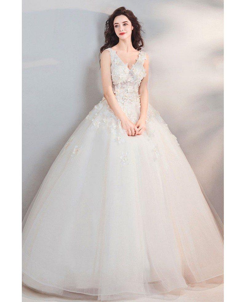 Fairy Pure White Floral Ball Gown Cheap Wedding Dress Princess Wholesale T69054 Gemgrace Com