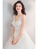 Fairy Pure White Floral Ball Gown Cheap Wedding Dress Princess