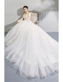 Gorgeous White Off Shoulder Ball Gown Wedding Dress Lace Up With Lace