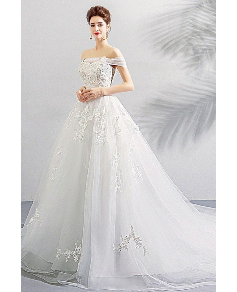 Gorgeous White Off Shoulder Ball Gown Wedding Dress Lace