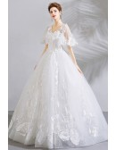 Unique Lace White Ball Gown Floral Wedding Dress With Sleeves