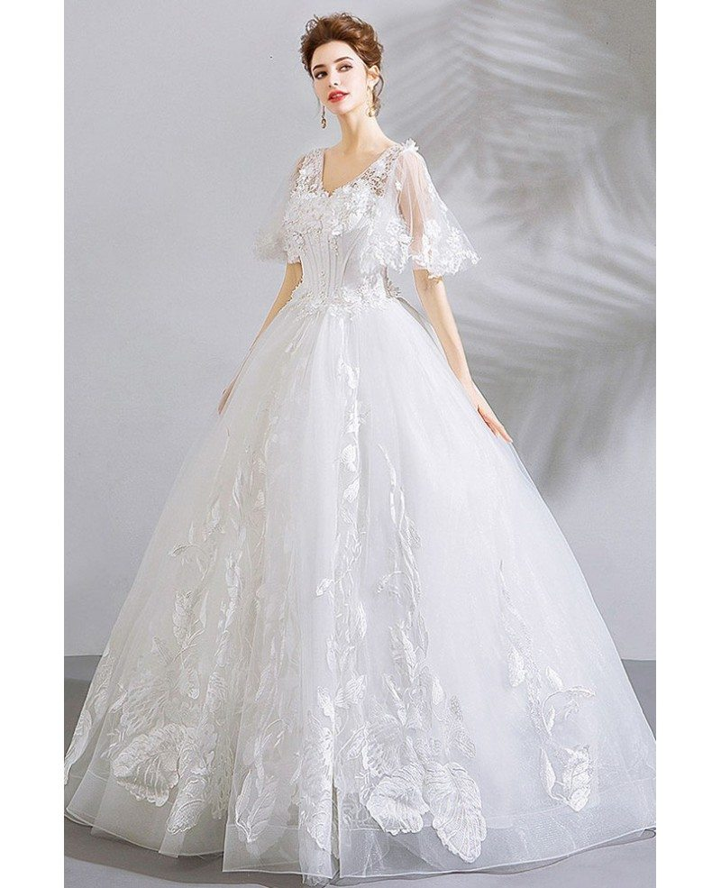 Wedding Gown Display: Unique Lace White Ball Gown Floral Wedding Dress With