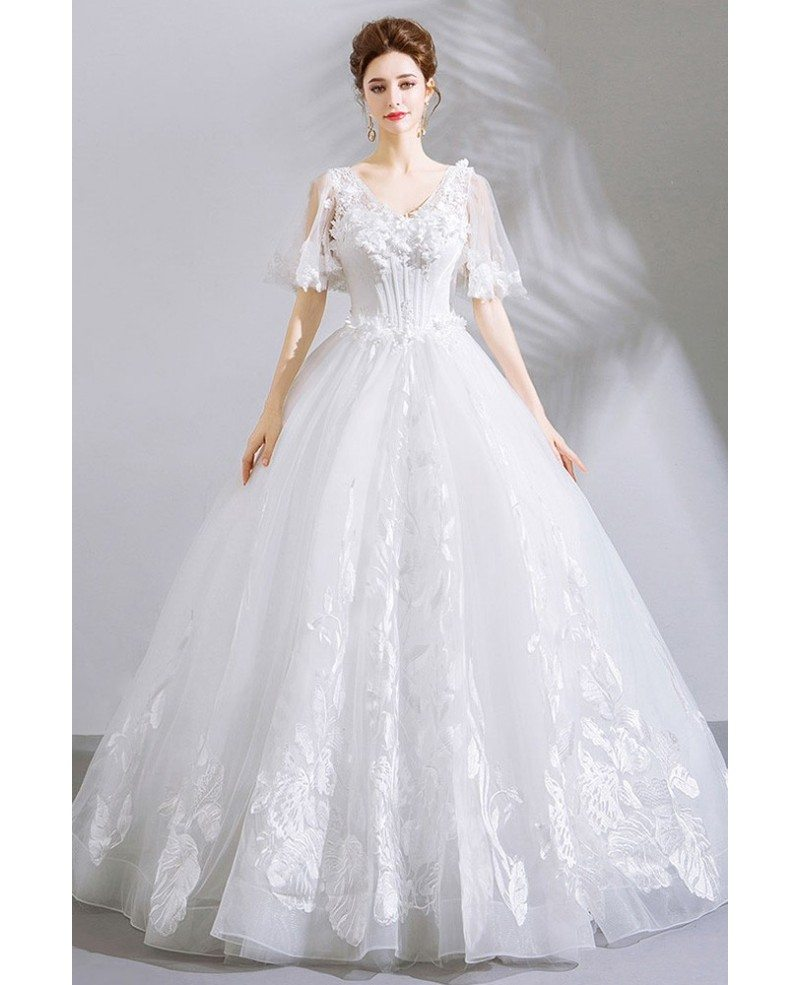 Unique Lace White Ball Gown Floral Wedding Dress With