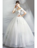 Fancy Embroidery Ball Gown Wedding Dress Princess With Off Shoulder