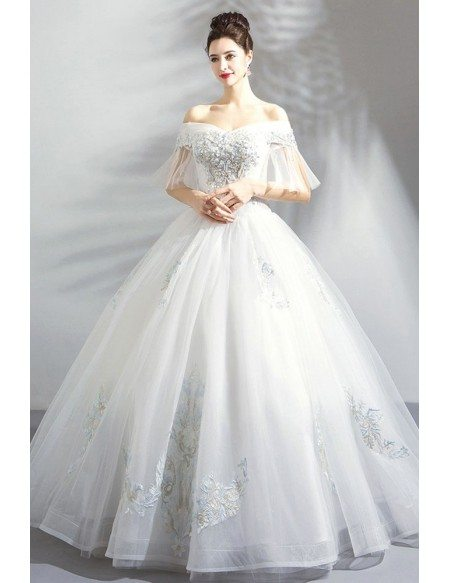 Fancy Embroidery Ball Gown Wedding Dress Princess With Off