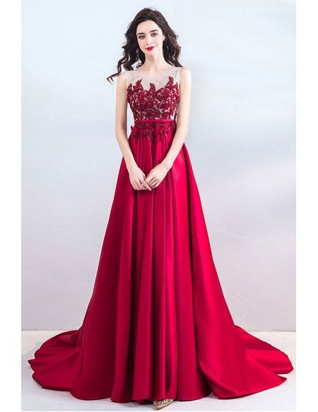 Classy Long Red Satin Evening Prom Dress With Appliques Sleeveless