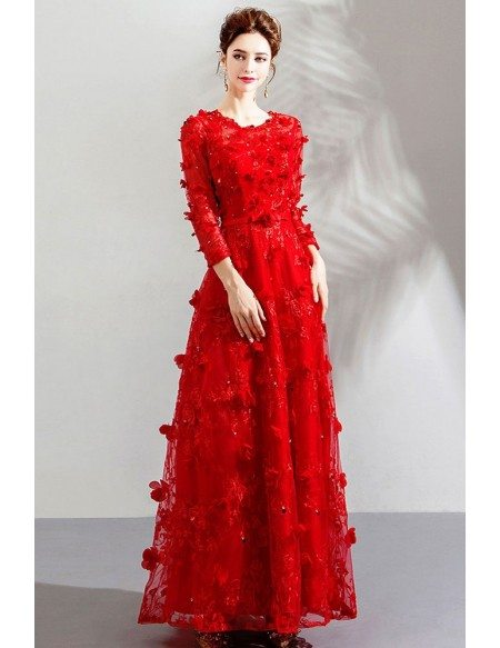 Special Long Red Floral Party Dress With Long Sleeves Flowers