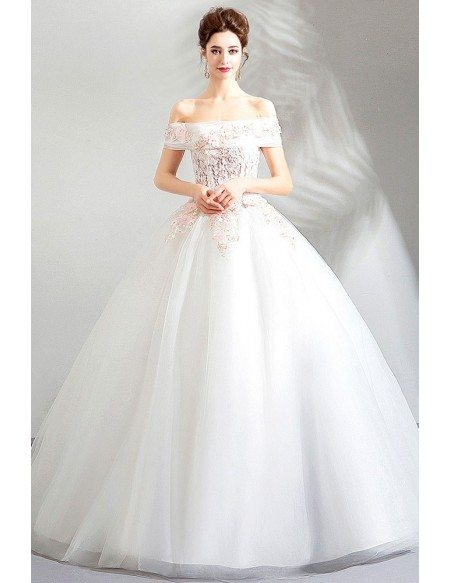 Gorgeous Off Shoulder White Lace Cheap Wedding Dress Ball Gown