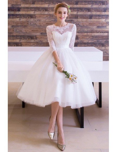 Wedding Dress A Line Scoop Neck Tulle