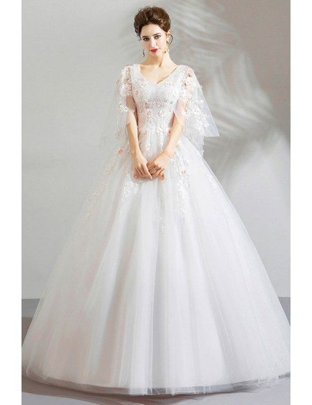 Fairy White Tulle Princess Ball Gown Wedding Dress With Flowers