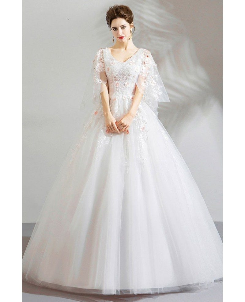 Princess Ball Gowns For Wedding: Fairy White Tulle Princess Ball Gown Wedding Dress With