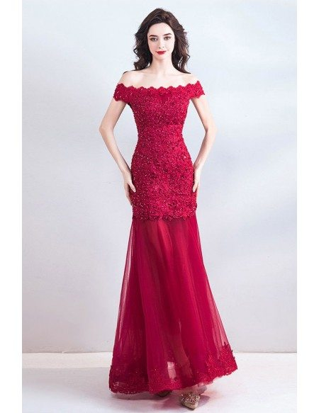 Pretty Burgundy Mermaid Lace Tulle Maxi Prom Dress Off Shoulder
