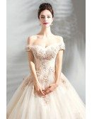 Stunning Nude Pink Ball Gown Wedding Dress Off Shoulder With Lace