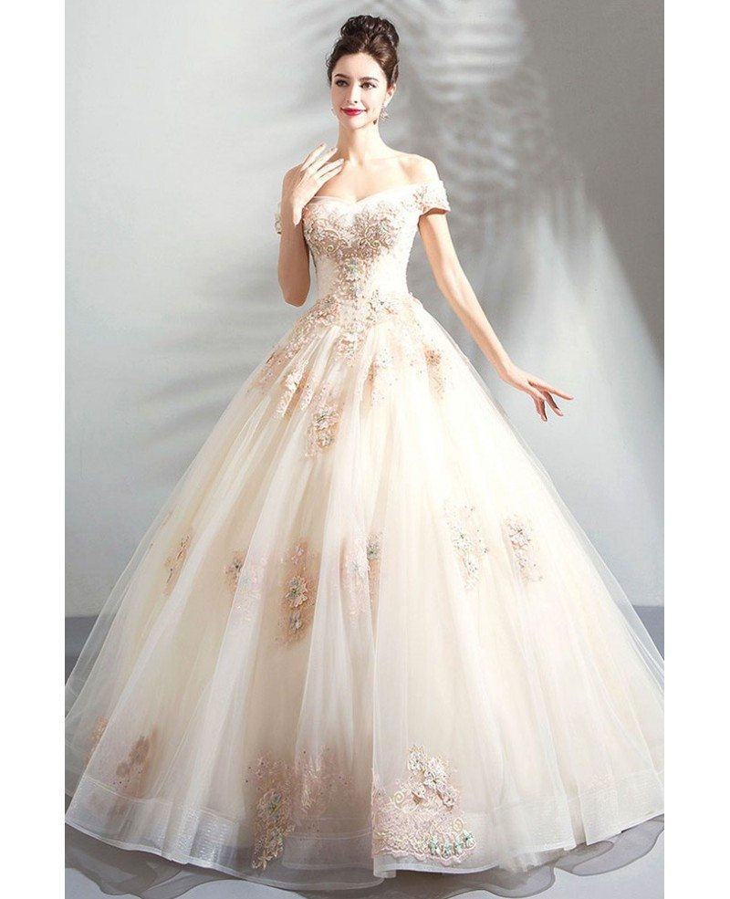 Stunning Nude Pink Ball Gown Wedding Dress Off Shoulder With