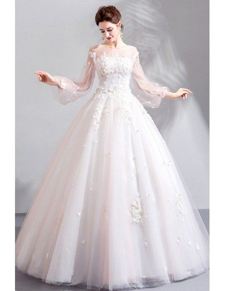 Fairy Floral Tulle Ball Gown Wedding Dress With Long Sleeves